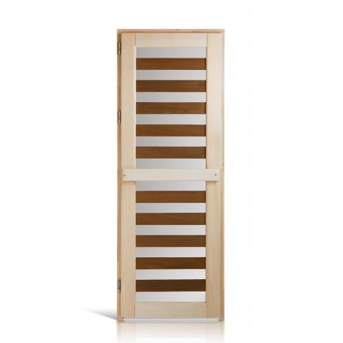 """Деревянная дверь """"Зебра термо"""" для сауны и бани"""