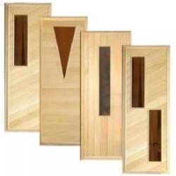 Двери в парную для сауны и бани из дерева и стекла