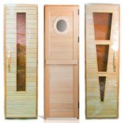 Комбинированные двери (вставки из закалённого стекла) для сауны или бани